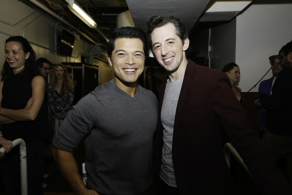 """From left, actor Vincent Rodriguez III and cast member Josh Grisetti backstage after the opening night performance of """"Something Rotten!"""" at Center Theatre Group/Ahmanson Theatre on Tuesday, November 21, 2017, in Los Angeles, California. (Photo by Ryan Mi"""