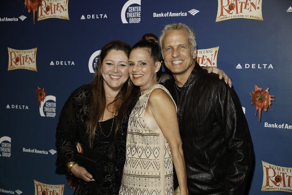 "From left, actors Camryn Manheim, Suzanne Cryer and Patrick Fabian arrive for the opening night performance of ""Something Rotten!"" at Center Theatre Group/Ahmanson Theatre on Tuesday, November 21, 2017, in Los Angeles, California. (Photo by Ryan Miller/Ca"