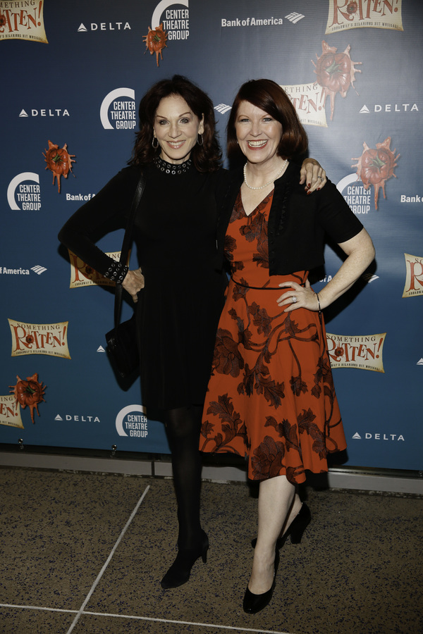 "From left, actors Marilu Henner and Kate Flannery arrive for the opening night performance of ""Something Rotten!"" at Center Theatre Group/Ahmanson Theatre on Tuesday, November 21, 2017, in Los Angeles, California. (Photo by Ryan Miller/Capture Imaging)"