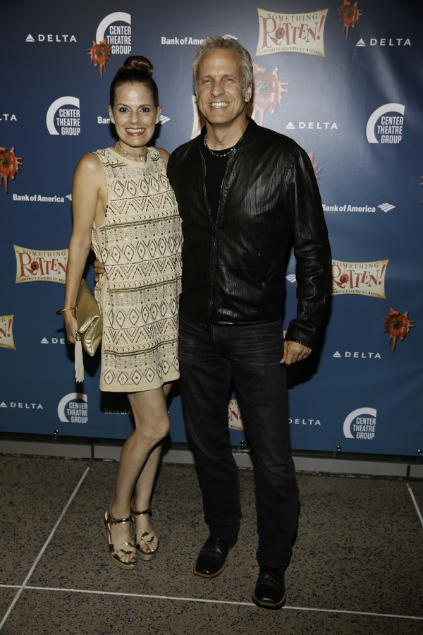 """Actors Suzanne Cryer and Patrick Fabian arrive for the opening night performance of """"Something Rotten!"""" at Center Theatre Group/Ahmanson Theatre on Tuesday, November 21, 2017, in Los Angeles, California. (Photo by Ryan Miller/Capture Imaging)"""