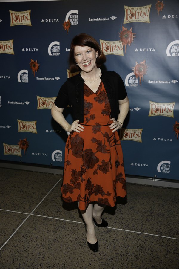 "Actor Kate Flannery arrives for the opening night performance of ""Something Rotten!"" at Center Theatre Group/Ahmanson Theatre on Tuesday, November 21, 2017, in Los Angeles, California. (Photo by Ryan Miller/Capture Imaging)"