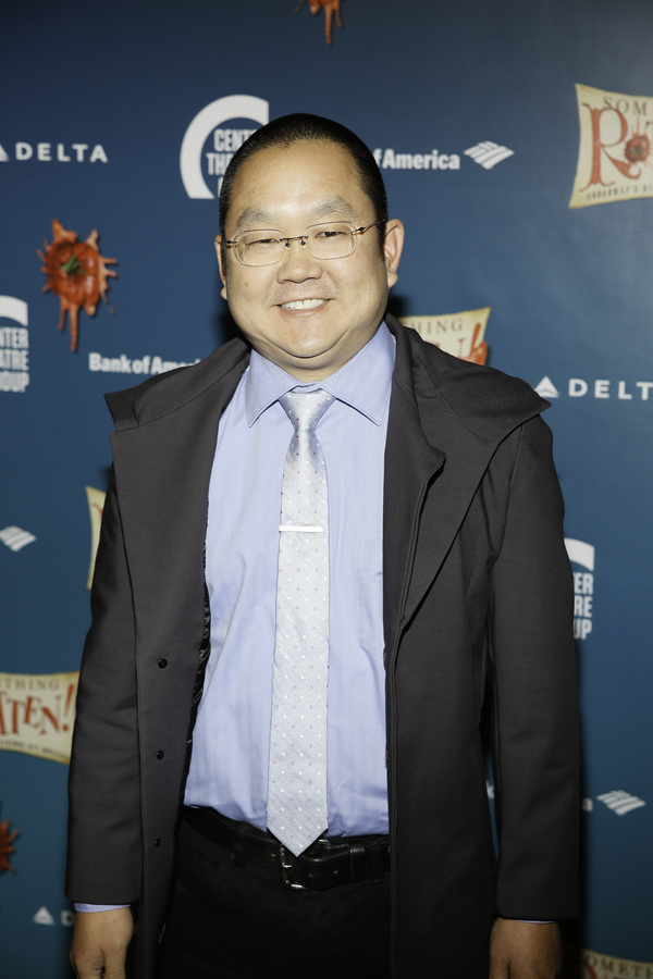 "Actor Aaron Takahashi arrives for the opening night performance of ""Something Rotten! Photo"