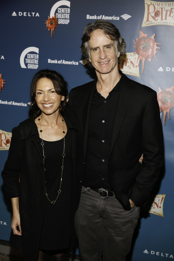 """Musician Susanna Hoffs and director Jay Roach arrive for the opening night performance of """"Something Rotten!"""" at Center Theatre Group/Ahmanson Theatre on Tuesday, November 21, 2017, in Los Angeles, California. (Photo by Ryan Miller/Capture Imaging)"""