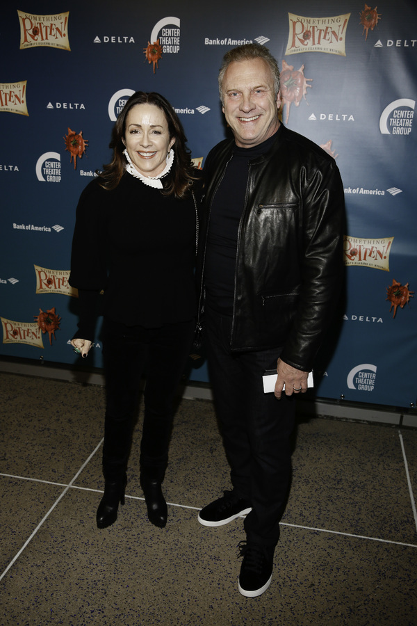"Actors Patricia Heaton and David Hunt arrive for the opening night performance of ""Something Rotten!"" at Center Theatre Group/Ahmanson Theatre on Tuesday, November 21, 2017, in Los Angeles, California. (Photo by Ryan Miller/Capture Imaging)"