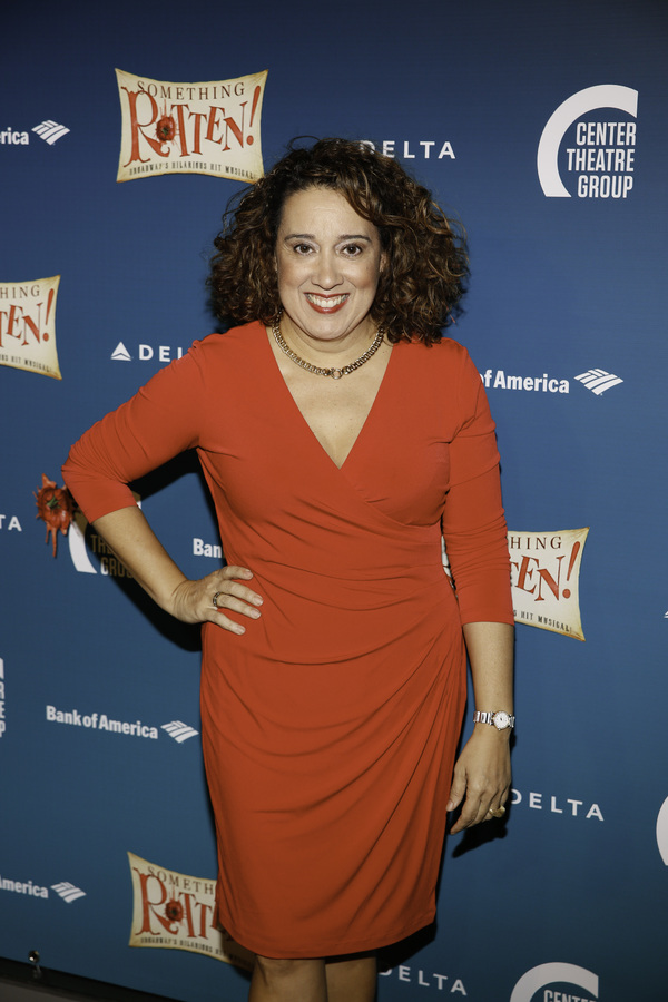 "Actor Eileen Galindo arrives for the opening night performance of ""Something Rotten!"" Photo"