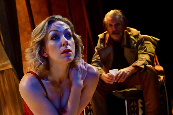 ALLISON F. RICH* as May and RANDALL KING* as The Old Man in San Jose Stage Company's FOOL FOR LOVE by Sam Shepard. *Members of Actors' Equity Association. Photo by Dave Lepori.