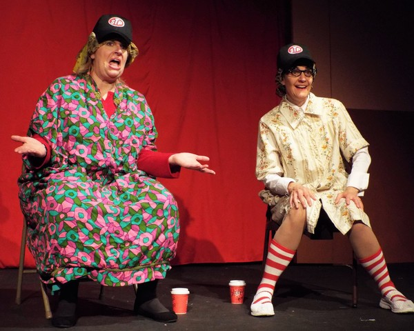 """Susan Fowler (left) and Susan Blair (right) help ring in the holidays weekends Dec. 1 â€"""" 17 in a skit involving southern trailer park residents describing their visit from Saint Nick â€"""" turning the familiar tale of the """"Night Before Christmasâ€� on it"""