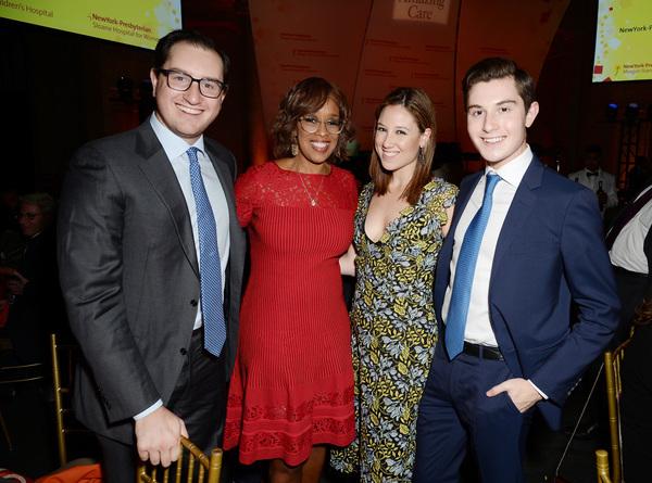 Joshua Milstein, TV personality Gayle King, Toby Milstein, and Laurence Milstein