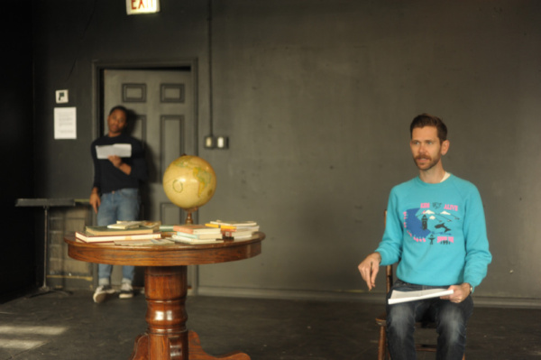 Daniel Kyri and Philip Dawkins in rehearsal for Lonely Planet in Chicago. Photo by Eric Watkins.