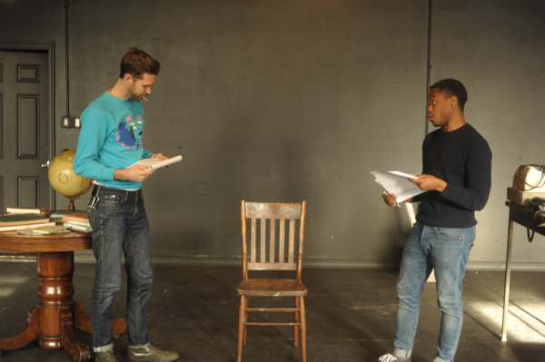 Philip Dawkins and Daniel Kyri in rehearsal for Lonely Planet in Chicago. Photo by Eric Watkins.