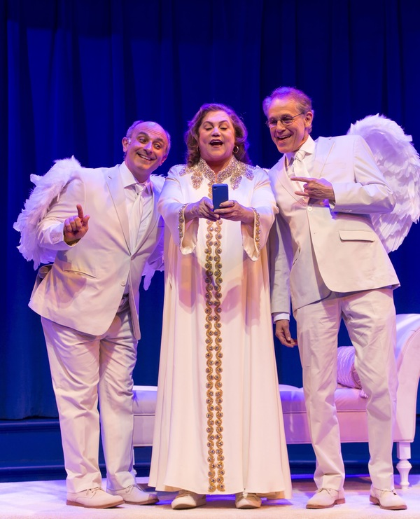 Kathleen Turner (God) with her archangels Stephen DeRosa (left) as Michael and Jim Walton (right) as Gabriel