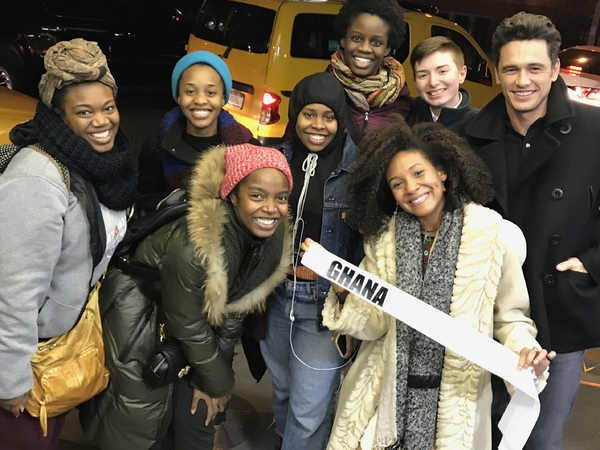 James Franco with the cast of MCC Theater's School Girls; Or, The African Mean Girls Play