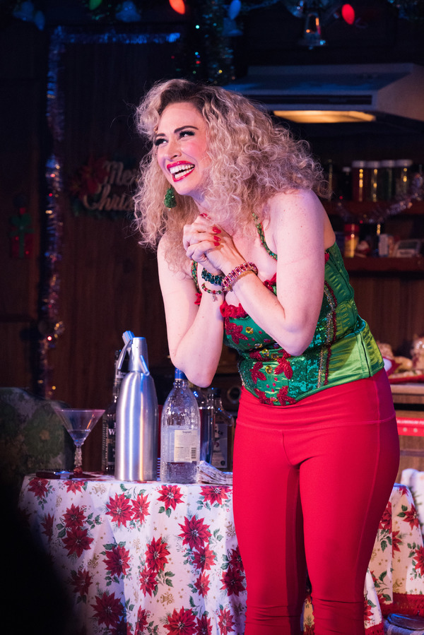Lesli Margherita takes her opening night bow in WHO'S HOLIDAY