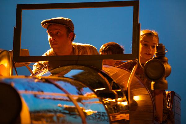 Ryan Patrick O'Donnell as Caractacus Potts, Gracie Payne as Jeremy Potts, and Evelyn Cantwell as Jemima Potts. Photo by Jeff Watkins.