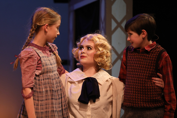 Evelyn Cantwell as Jemima Potts, Mackenzie Brown as Truly Scrumptious, and Gracie Payne as Jeremy Potts. Photo by Jeff Watkins.
