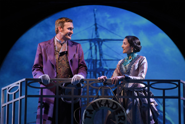 L-R: Phileas Fogg (Jason Kuykendall) and Aouda (Ajna Jai) travel by ship in TheatreWorks Silicon Valley's Around the World in 80 Days. The hilarious holiday adventure adapted by Mark Brown from the novel by Jules Verne plays at the Lucie Stern Theatre in