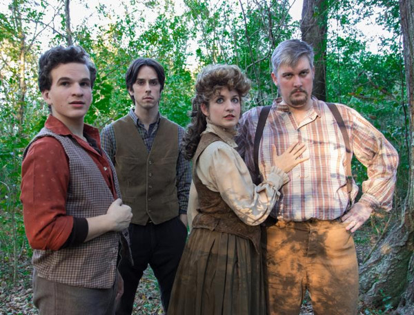 (L to R) Aaron Richert as Jesse Tuck, Bryce Slocumb as Miles Tuck, Melissa Hunter as Mae Tuck, and Patrick Hunter as Angus Tuck Photo by: Joshua Frederick