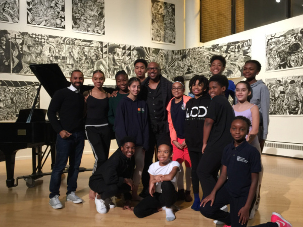 Surrounded by the next generation of hopeful performers, Alton Fitzgerald White poses with this band of young Harlem School of the Arts students and a former member of The Lion King family (L) Aubrey Lynch II, HSA Dance Director.