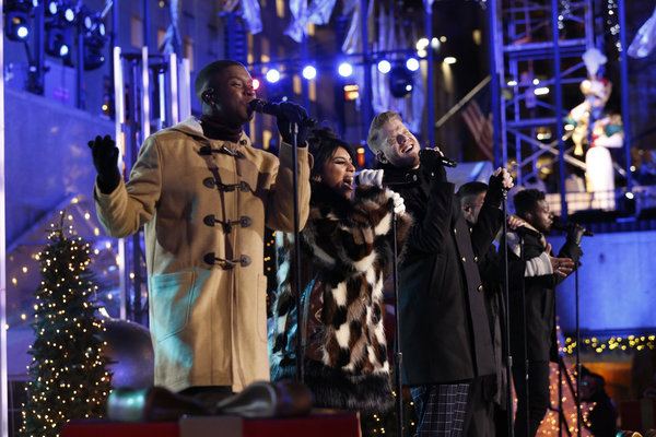 CHRISTMAS IN ROCKEFELLER CENTER -- Pictured: (l-r) Matt Sallee, Kirstin Maldonado, Scott Hoying, Mitch Grassi and Kevin Olusola of The Pentatonix perform during the 2017 Christmas In Rockefeller Center  -- (Photo by: Eric Liebowitz/NBC)
