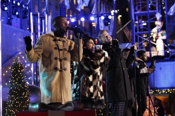 CHRISTMAS IN ROCKEFELLER CENTER -- Pictured: (l-r) Matt Sallee, Kirstin Maldonado, Scott Hoying, Mitch Grassi and Kevin Olusola of The Pentatonix perform during the 2017 Christmas In Rockefeller Center  -- (Photo by: Eric Liebowitz/NBC)
