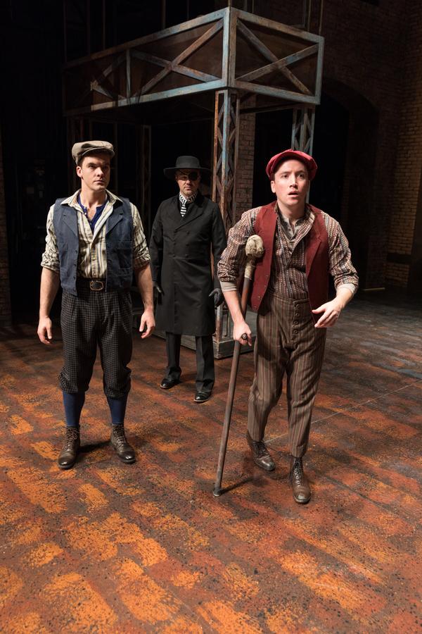 Jonathan Shew (Jack Kelly), David Guy Holmes (Snyder) and Austin Archer (Crutchie)