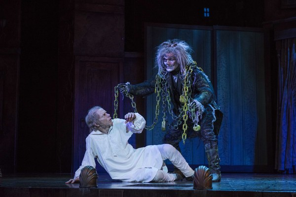 Milwaukee Repertory Theater presents A Christmas Carol in the Historic Pabst Theater from November 28 to December 24, 2017. Left to Right: Jonathan Wainwright and Jonathan Smoots. Photo by Michael Brosilow.