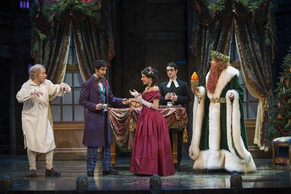 Milwaukee Repertory Theater presents A Christmas Carol in the Historic Pabst Theater from November 28 to December 24, 2017. Left to Right: Jonathan Wainwright, Jesse Bhamrah, Annelyse Ahmad, Alex Morales and Todd Denning. Photo by Michael Brosilow.