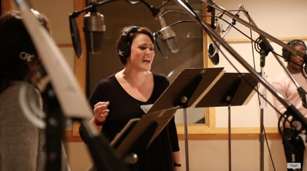 Lisa Howard at the Original Broadway Cast Recording session of Escape to Margaritaville (photo by Michael Karns)