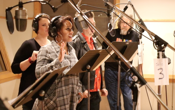 Rema Webb (closest), Lisa Howard, Eric Petersen, and Don Sparks at the Original Broadway Cast Recording session of Escape to Margaritaville (photo by Michael Karns)