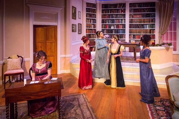 left to right: . Galen Crawley (Anne De Bourgh), Devon Hales (Lydia Wickham), Maria Rodriguez-Sager (Jane Bingley), Amelia Fischer (Mary Bennet) and Julissa Sabino (Elizabeth Darcy)