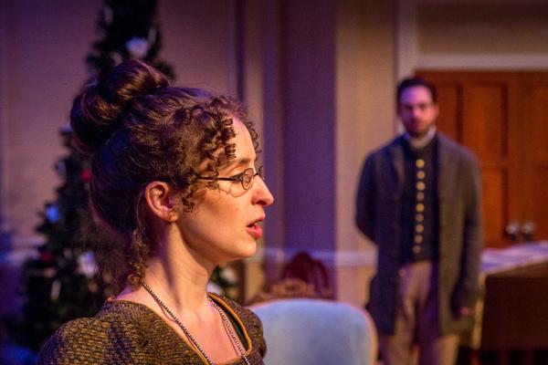 (l) Amelia Fischer (Mary Bennet) and (r) Jonathan Horne (Arthur De Bourgh)  Photo
