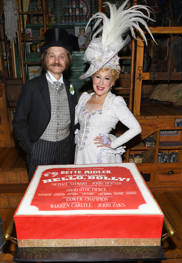 """David Hyde Pierce (L) surprises Bette Midler at her birthday celebration at Broadway's HELLO, DOLLY! on December 1, 2017 in New York City.  (Photo by Noam Galai/Getty Images for """"Hello, Dolly"""")"""