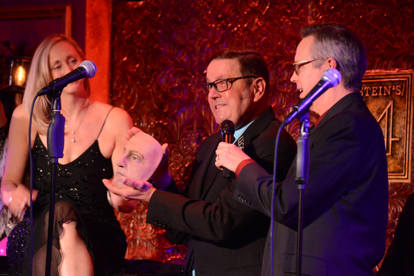 Jennifer Paulson Lee, Kevin Weldon and Jim Fyfe with an original Peter Alan mask that Photo