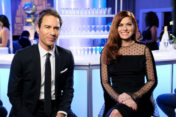 (l-r) Eric McCormack and Debra Messing host the Golden Globe Awards 75th Anniversary Special (photos by: Trae Patton/NBC)