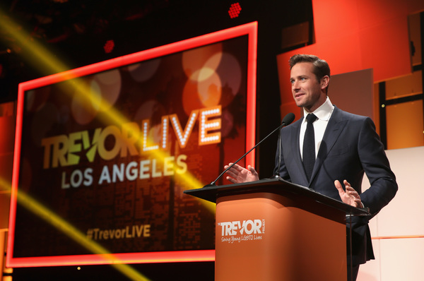BEVERLY HILLS, CA - DECEMBER 03:  Armie Hammer speaks onstage during The Trevor Project's 2017 TrevorLIVE LA Gala at The Beverly Hilton Hotel on December 3, 2017 in Beverly Hills, California.  (Photo by Phillip Faraone/Getty Images for The Trevor Project)