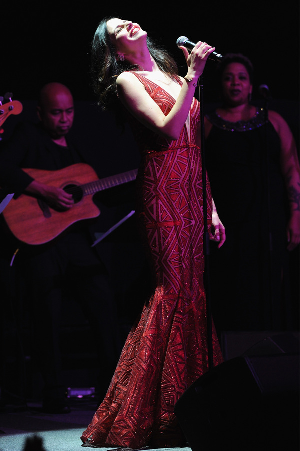 Actress Mandy Gonzalez performs onstage during 'The Bloomberg 50' Celebration at Gotham Hall