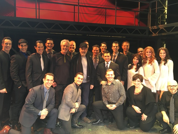 Bob Gaudio and Neil Diamond with Jersey Boys cast and musicians