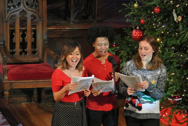 Diana Huey, Avionce Hoyles, and Camille Claire Vanasse lead out on 'We Need a Little Christmas.'