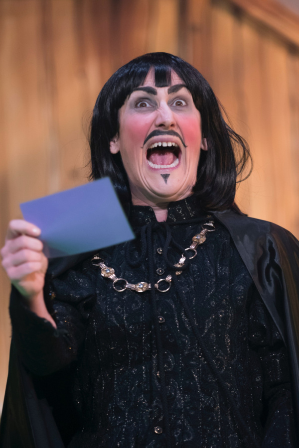Kerry Frampton as The Sheriff of Nottingham in Robin Hood, Stantonbury Theatre