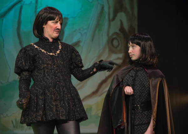 Kerry Frampton as The Sheriff of Nottingham with Nell Holleyoake in Robin Hood, Stantonbury Theatre
