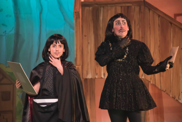 Kerry Frampton as The Sheriff of Nottingham with Nell Holleyoake in Robin Hood, Stantonbury Theatre (2)