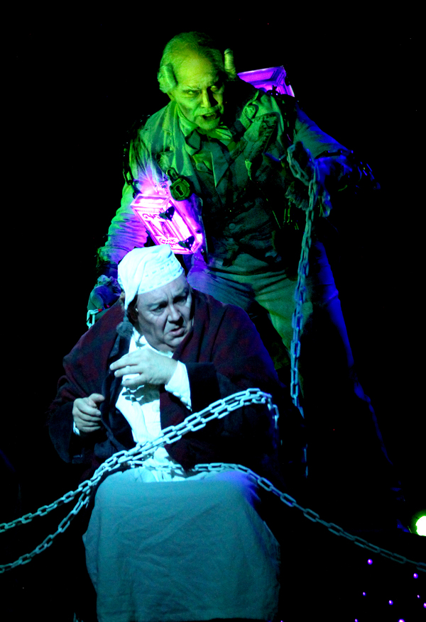 David Coffee (Ebenezer Scrooge) and Freddie Kimmel (Jacob Marley)