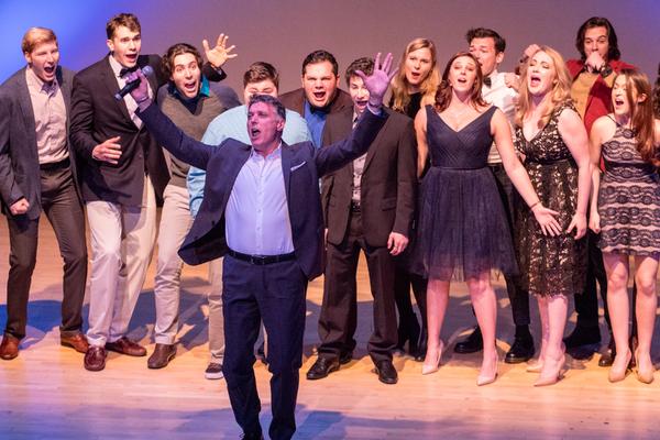 Robert Cuccioli with members of  The Manhattan School of Music Musical Theatre Ensemble
