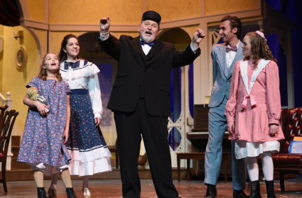 Wynter Osstifin as Tootie, Lisa Schrock-Ohlinger as Rose, George Reasoner as Grandpa, Crosby Slupe as Lon, and Abby Knight as Agnes in the Croswell Opera House's production of Meet Me in St. Louis.