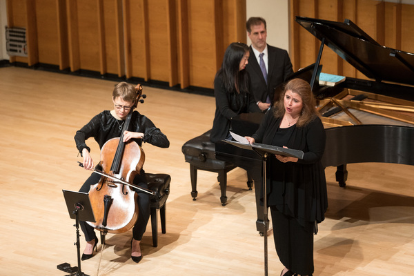 "The ARK trio (soprano Allison Charney, cellist Kajsa William-Olsson, pianist Reiko Uchida) performing contemporary American composer Michael Ching's witty homage ""Arrangements and Derangements: Interpretations of Schubert�"