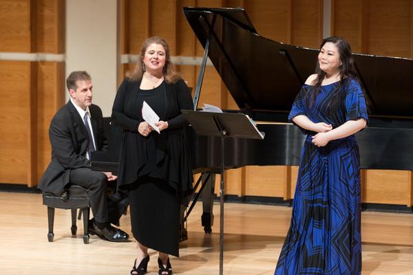 Soprano Allison Charney with mezzo soprano Hyona Kim before Madama Butterfly duet