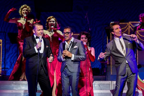 Garrett Phillips (Frank Sinatra), David Hayes (Sammy Davis Jr) and Nigel Casey (Dean Martin)