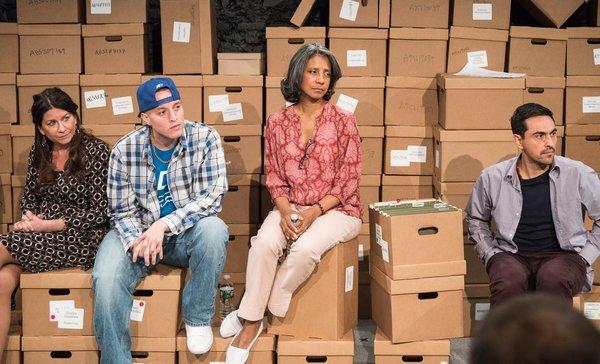 Opening Night post-show talk-back with Emily Joy Weiner, Manny Urena, Zuleyma Guevara, and Camilo Almonacid.