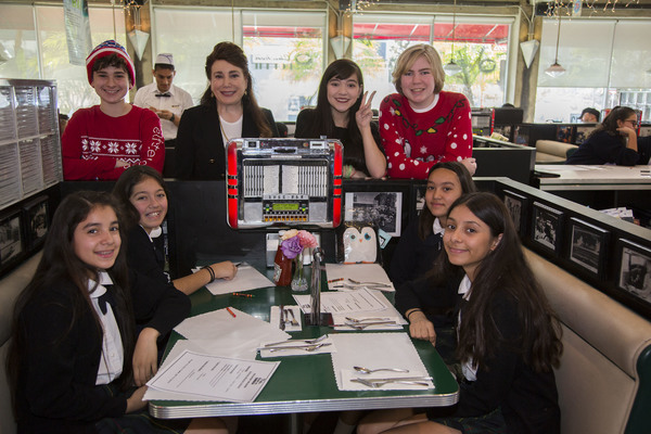 Jax Malcolm, Donelle Dadigan, Chloe Noelle and Conner Dean join some of the Dolores Mission students for lunch at Mel's Diner.