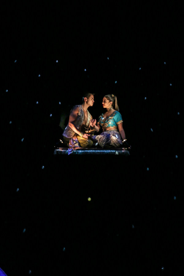 "Jason Gotay and Kira Kosarin star in the LAGUNA PLAYHOUSE & LYTHGOE FAMILY PANTO production of ""ALADDIN AND HIS WINTER WISH"" - Directed and Choreographed by Spencer Liff and now playing at the Laguna Playhouse in Laguna Beach."